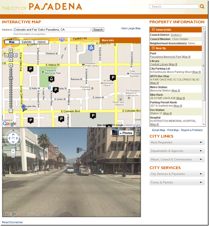 Screen shot of The City of Pasadena Interactive Map