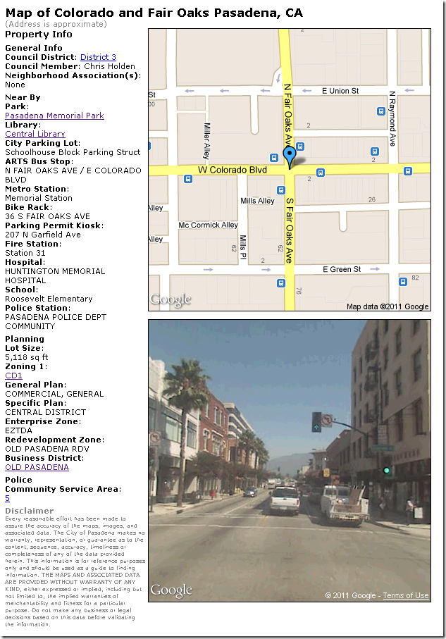 Screen shot of The City of Pasadena Print Map